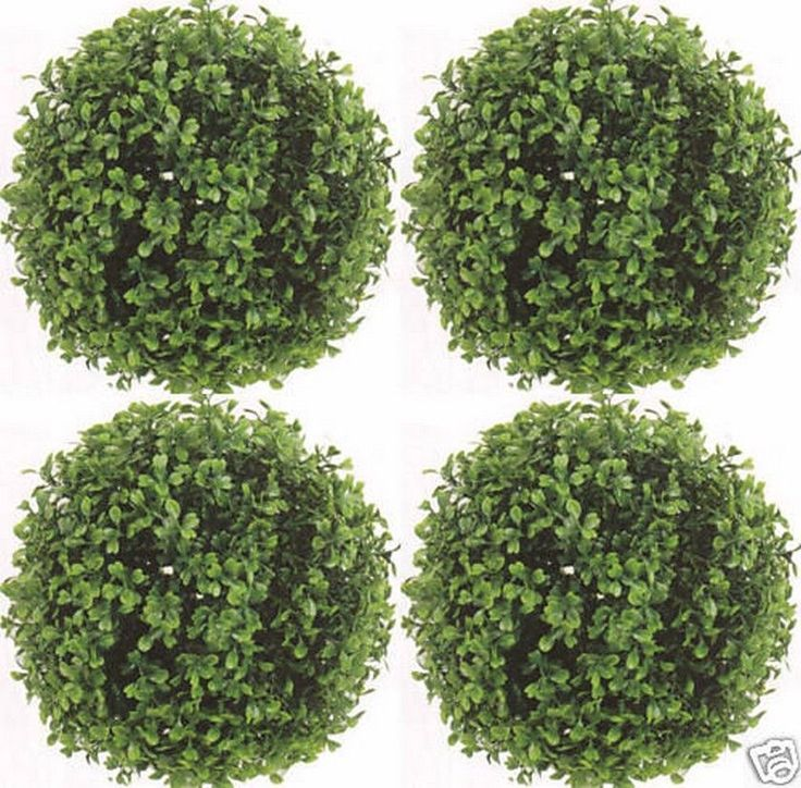"4 ARTIFICIAL BOXWOOD BALLS IN OUTDOOR TOPIARY PLANT BUSH FLOWER FLORAL TREE 10"" #SilkTreeWarehouse #Arrangements"