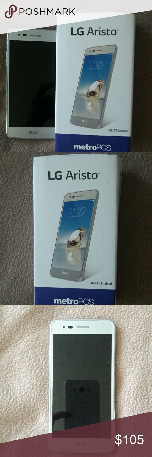 """LG Aristo Cell Phone ??NEW??Metro PCS used for 2 days then I found my old phone .Don't need 2 phones so I'm getting rid of this one. It's a great phone I just love my old 1.  Phone features: 4G LTE Enabled,Android,5.0"""" HE UPS Display with 2.50 Arc Glass,13 NO AutoFocus Camera with LED Flash,5MP Front Facing Camera,16GB ROM*/1,5GB Ram,1.4GHz Quad-Core Processor LG Aristo Accessories"""