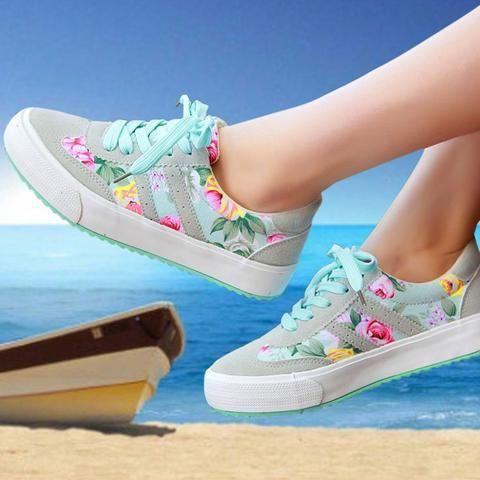 Women canvas shoes hot fashion  floral print casual flat shoes