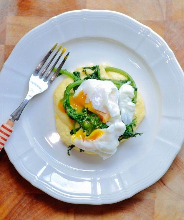 Polenta Porridge, Egg & Wilted Greens