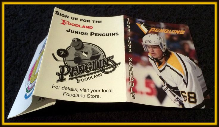 1994-95 PITTSBURGH PENGUINS FOODLAND JUNIOR PENGUINS HOCKEY POCKET SCHEDULE  #Schedule