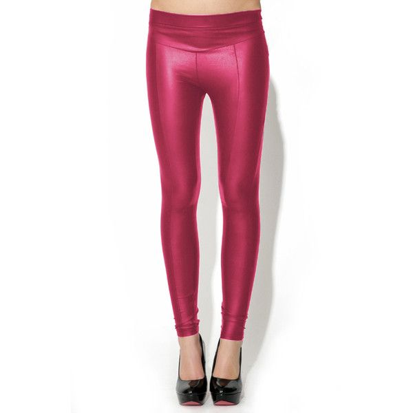 Wet Look Leggings (94 RON) ❤ liked on Polyvore featuring pants, leggings, dusky pink, stretch pants, pink pants, white pants, stretch waist pants and skinny leggings