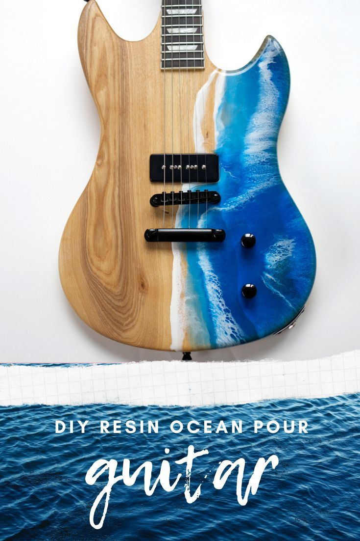Diy Resin Ocean Pour On A Guitar Guitar Diy Guitar Resin