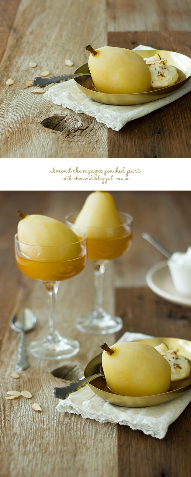 Almond Champagne Poached Pears with Almond Whipped Cream | www.brighteyedbaker.com #CleverlyPoached #CleverGirls