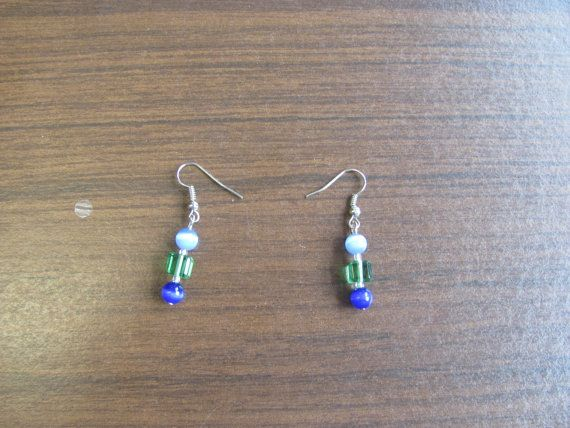Blue and green bead earrings by StudentShop13 on Etsy