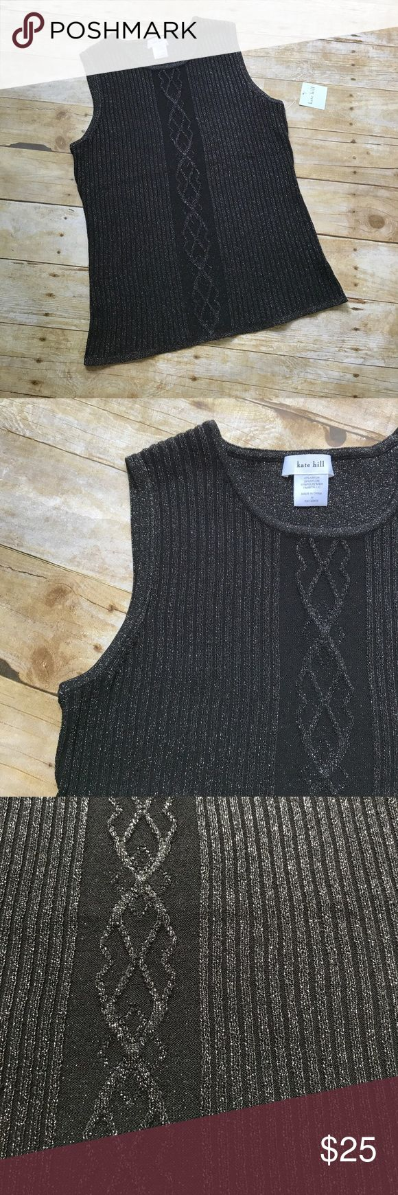 "Kate Hill Black Metallic Sleeveless Sweater NWT Kate Hill Black Metallic Sleeveless Sweater. Scoop neckline. Size Medium. Measures approximately 16.5"" across at the bust, 24"" from shoulder to hem. From a smoke free home. Kate Hill Sweaters"