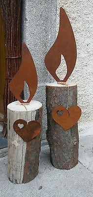 °^°XL Flammen aus Edelrost°^°Garten Metall Rost 30cm/40cm Bausatz Kerze Winter