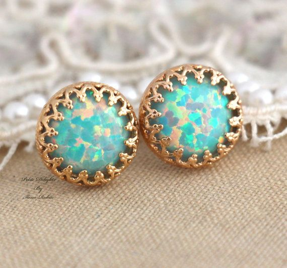 Mint Opal Stud earrings Green bridesmaids gift  14k by iloniti, $43.00