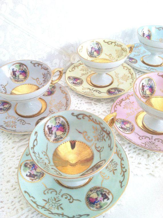 Antique Tea Cups: Fancy Teas, Vintage Teacups, Teas Time, Antiques Teas Sets, Vintage Teas Pots Antiques, Cups Porcelain Antiques, Teacups Sets Pots 4, Teas Parties, Vintage Teas Cups