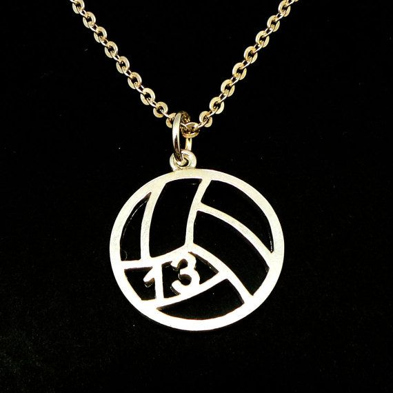Personalized Number Volleyball Necklace  Volleyball Jewelry