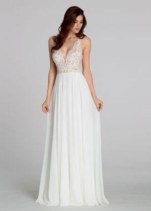 Tara Keely V-Neck A-Line Gown in Chiffon | KleinfeldBridal.com