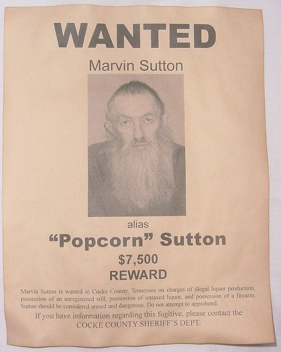 Set of 5 Wanted Posters Moonshiner Popcorn Sutton Big by McMinnies, $10.00