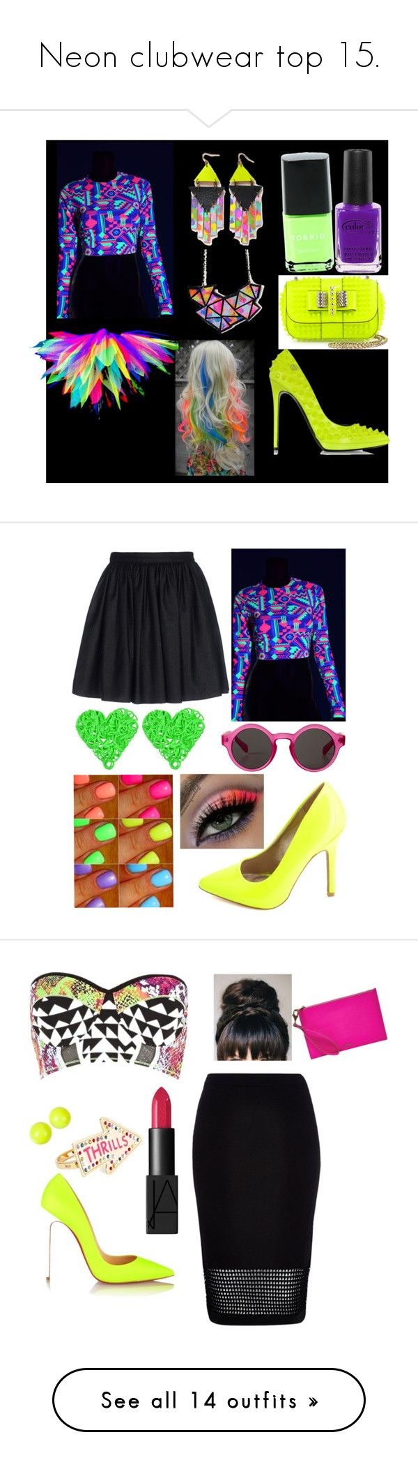 """""""Neon clubwear top 15."""" by rockergirl-861 ❤ liked on Polyvore featuring Torrid, Christian Louboutin, Color Club, Philipp Plein, Mauro Grifoni, Charlotte Russe, Monki, neon, julyissuu and River Island"""