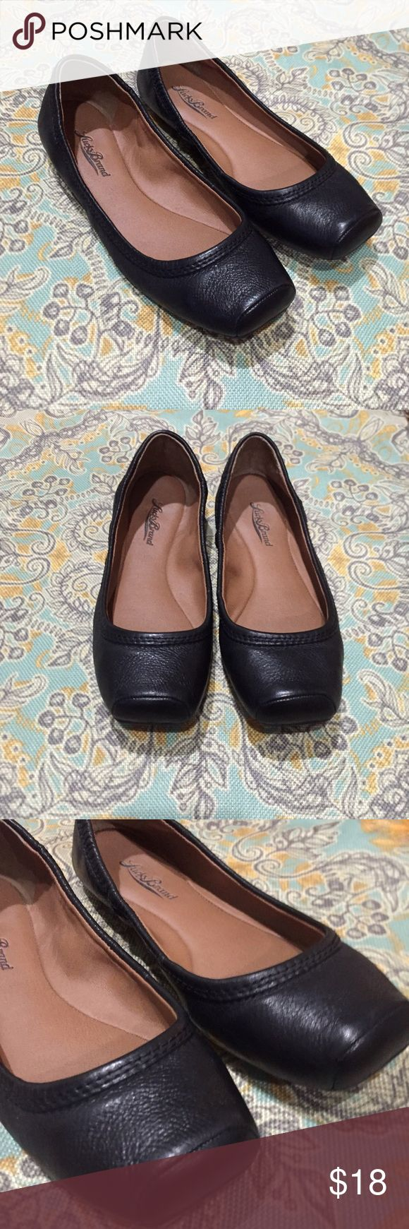 Lucky Brand Flats Lucky Brand square toe ballet flats. Black leather upper. Only worn a couple times- in great condition. Lucky Brand Shoes Flats & Loafers