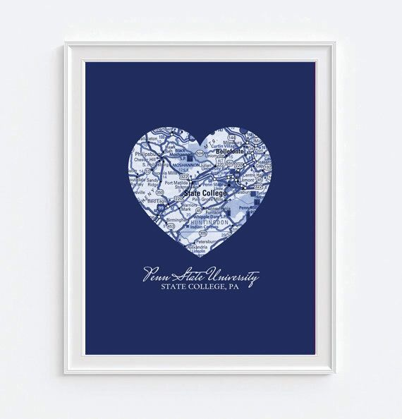 Penn State Nittany Lions State College Pennsylvania Vintage Heart Map Art Print by droppedpinshop on Etsy https://www.etsy.com/listing/221646530/penn-state-nittany-lions-state-college
