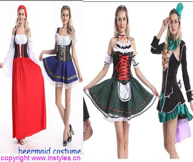 Trade assurance $ 2015 instyles Ladies Wench Oktoberfest German Beer Maid Fancy Dress Costume Medieval Womens
