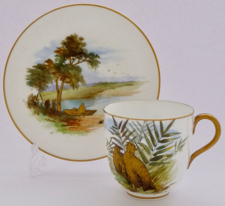 Brown-Westhead, Moore & Co. ブラウンーウェストヘッド, ムーア  卵殻胎(エッグ・シェル)陶磁器のティーカップ & ソーサー、金彩とエナメルの手描き 1880年頃