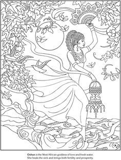 Oshun West African Goddess Of Love Fresh Water Goddesses Coloring Pages Dover Publications Sample
