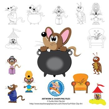 These clip art can be used for learning material in conjunction with the book Mouse Soup by Arnold Lobel.7 Full Color images with black and white versions included.1 - A brown mouse in a cooking pot.2 - A brown mean-looking weasel in blue overalls.3 - A worried mouse (clothed in shirt, shorts, shoes) with a beehive on its head.4 - An angry girl mouse looking out a tower window.5 - A friendly cricket.6 - An old lady mouse (with a gray hair bun) with glasses in a dress.7 - A comfy looking…