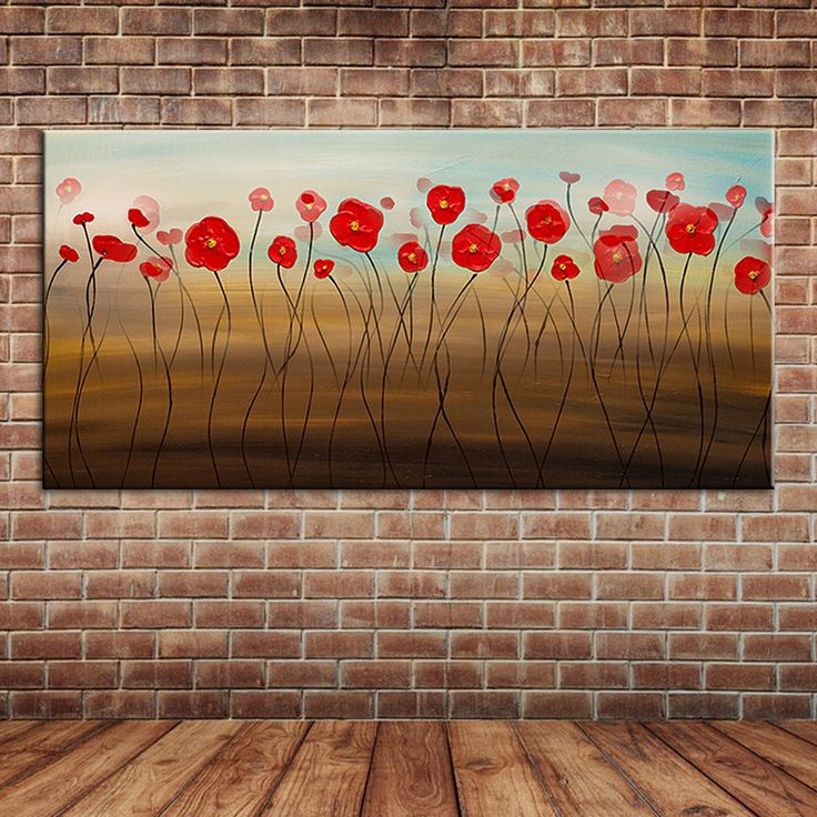 Modern Wall Art Abstract Single Red Flowers Oil Paintings Canvas Art Large Wall Mural Posters Decoration (No frame )