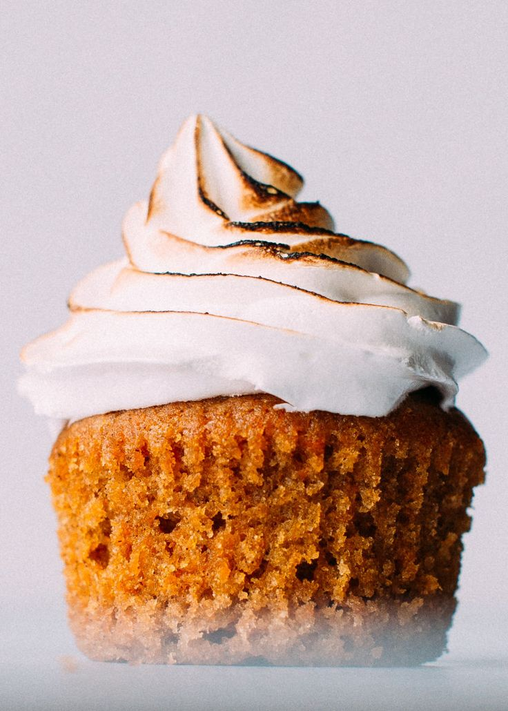 Moist, tender Sweet Potato Cupcakes with the fluffiest toasted marshmallow frosting.