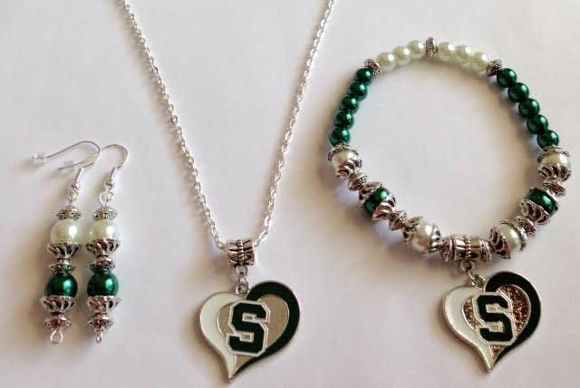 Michigan State Necklace, Michigan State Bracelet, Michigan State Earrings, MSU Jewelry, Spartans Jewelry, MI State Jewelry, Ships From USA by BeadsDesignedbyRenea on Etsy