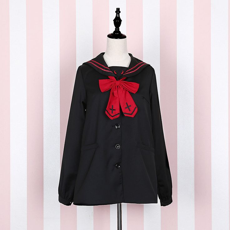 Devil or Angel? Cute Women's Japanese JK School Uniform Style Sailor Collar Cross & Wings Embroidery Trench Preppy Style Shirt