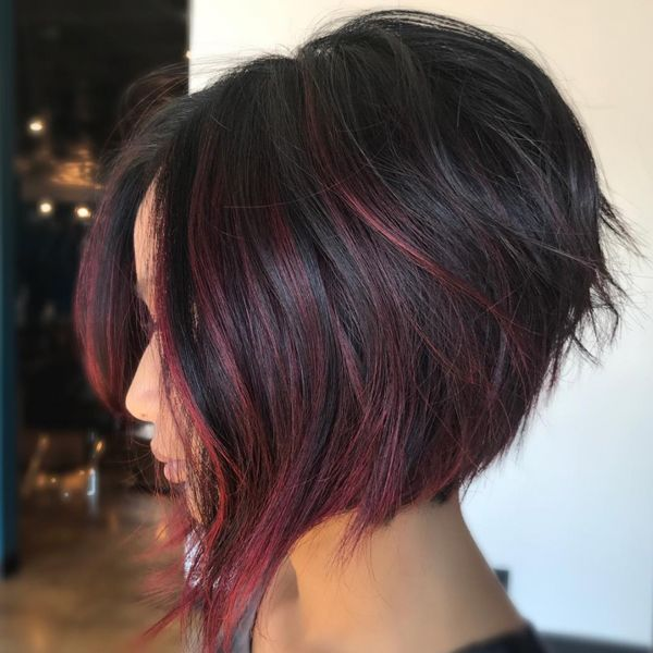Rich Wine Colored Balayage Behindthechair Com Short Hair Styles Hair Styles Angled Bob Hairstyles