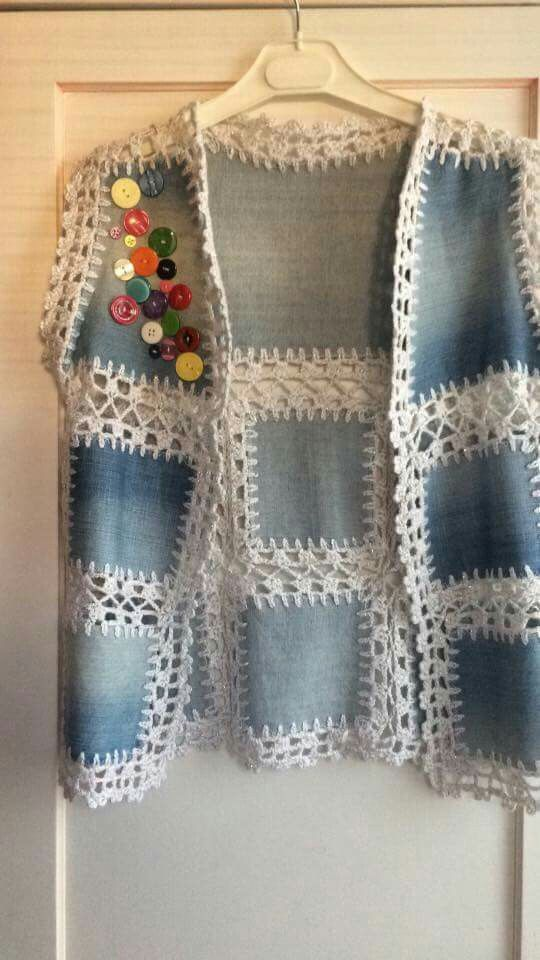 "ABruxinhaCoisasGirasdaCarmita: O colete da avó Carmita [   ""Idea for all the \""stretch denim\"" pieces!"",   ""Discover thousands of images about Apricot Round Neck Floral Crochet Loose Sweater."" ] #<br/> # #Kotlar,<br/> # #Stretch #Denim,<br/> # #Pin #Pin,<br/> # #Album,<br/> # #Blouses,<br/> # #All<br/>"