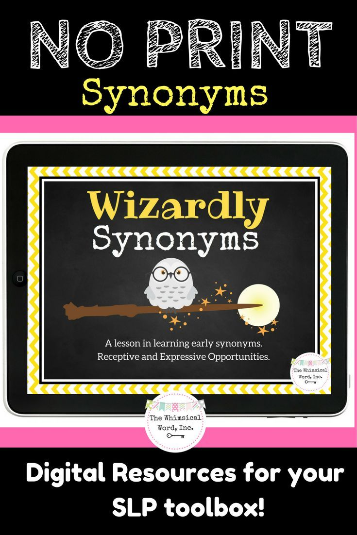 Wizardly Synonyms is the perfect digital lesson for teaching elementary students synonyms.  25 pairs, and receptive/expressive opportunities.  Perfect for your teletherapy platform, iPad or laptop.