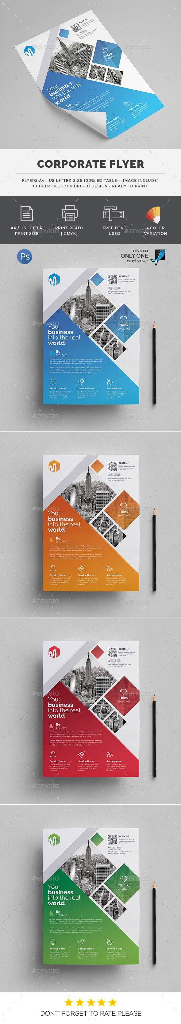 #Corporate #Flyers - Flyers Print Templates Download here: https://graphicriver.net/item/corporate-flyers/19159187?ref=alena994