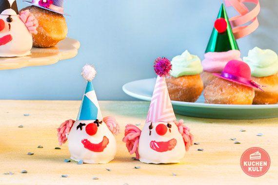 #Karnevalgebäck, #Berliner, #Clown- #Cakepops, #Fasching; #carnival, #snacks, party-food