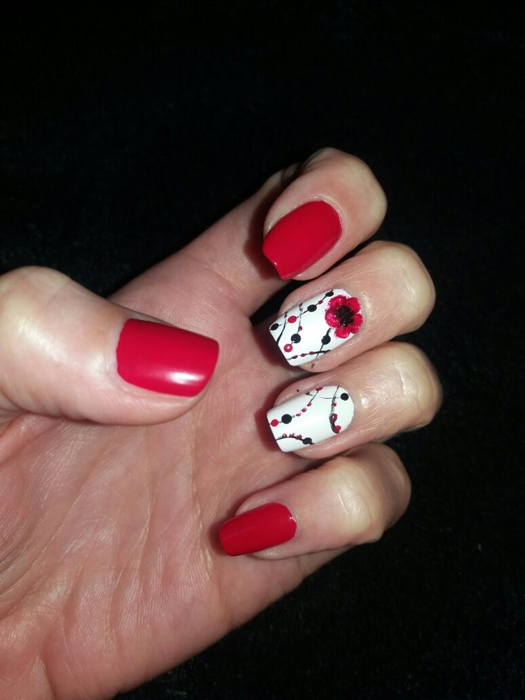 Nails: red - white - flower - dots