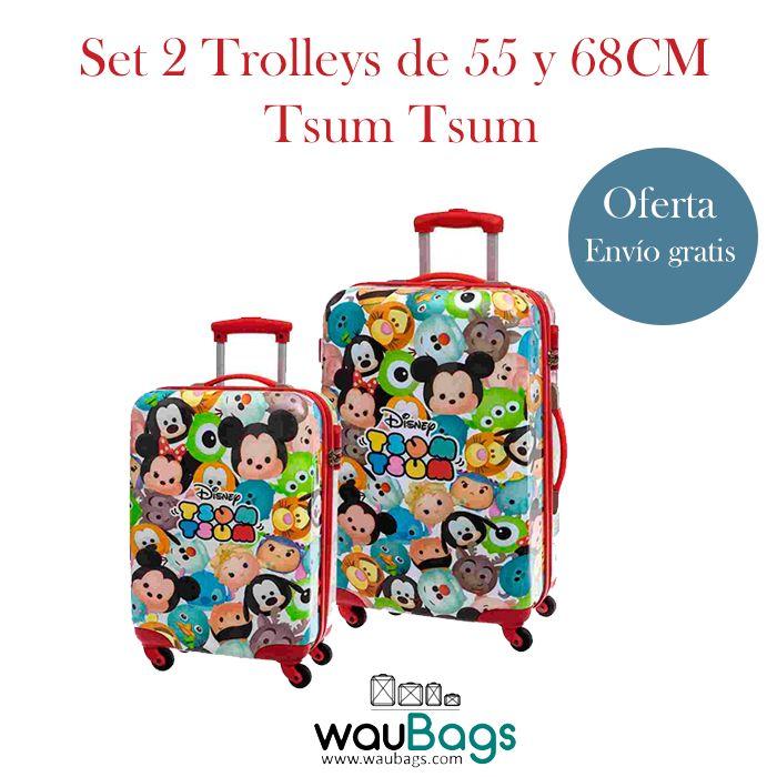 """Consigue en waubags.com el Set de viaje compuesto por 2 originales y prácticas Maletas Trolley de 55 y 68CM Disney """"Tsum Tsum"""" (una de ellas apta para cabina), ahora por tan solo 145€!! @waubags #disney #tsumtsum #maletas #trolley #viaje #setdeviaje #infantil #cabina #oferta #descuento #waubags"""
