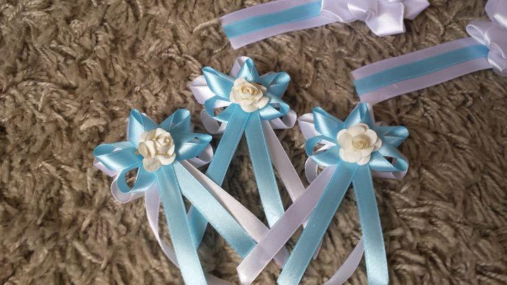 Svadobné pierka svetlo modrá + biela