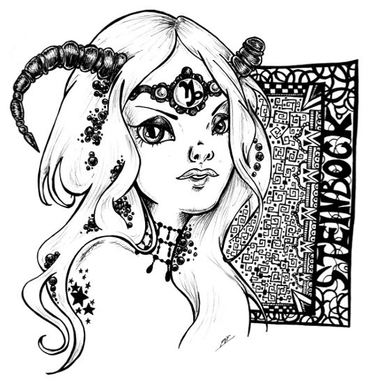 218 best zodiac coloring pages for adults images on pinterest for Capricorn coloring pages