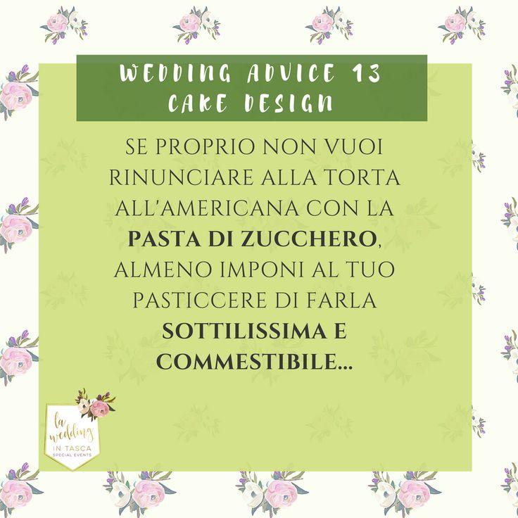 Il mio wedding advice di oggi: La torta nuziale all'americana? Proprio quella con la pasta di zucchero? Sicura/o? Vabbè...almeno però chiedi al pasticcere di farla SOTTILISSIMA E COMMESTIBILE... (la paghi anche di meno perchè pesa di meno... ). #cakedesign #weddingcake #laweddingintasca #pastadizucchero