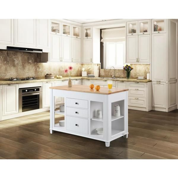 Design Element Medley White Kitchen Island With Slide Out Table Kd 01 W The Home Depot White Kitchen Island Grey Kitchen Island Kitchen Island With Seating