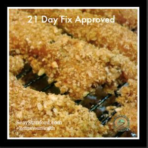 Pecan crusted chicken strips (1 red, 1 yellow, 1 blue)