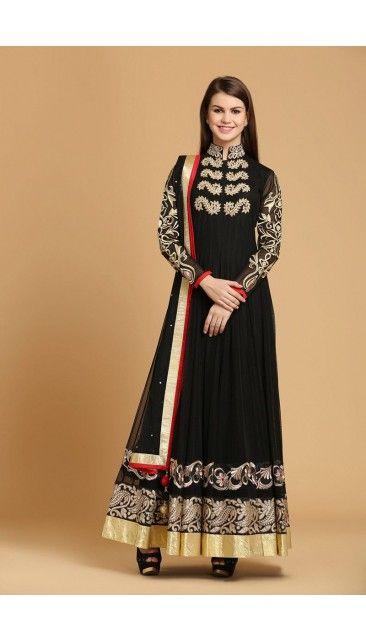 Black Polyester Net Anarkali Churidar - 1597