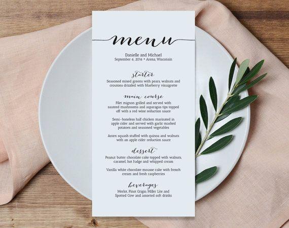 Wedding Menu Printable Template, Printable Menu, Menu Template, Kraft Menu, Dinner Menu Printable, PDF Instant Download #BPB165_4