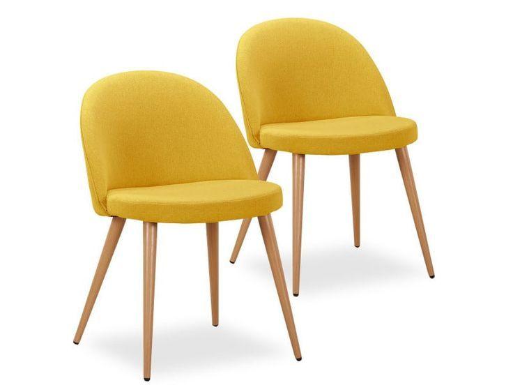 Set Of 2 Scandinavian Chairs Cecilia Yellow Fabric Sale Of Chair Conforama Cecilia Chair Chairs Conforama Fab Scandinavian Chairs Chair Yellow Fabric