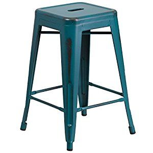 "AmazonSmile: Flash Furniture High Backless Distressed Kelly Metal Indoor Counter Height Stool, Blue, 24"": Kitchen & Dining"