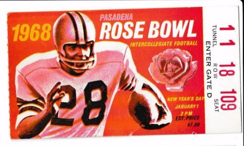Rose Bowl Game Ticket Stub USC Vs Indiana 1968 O J Simpson Heisman Trophy