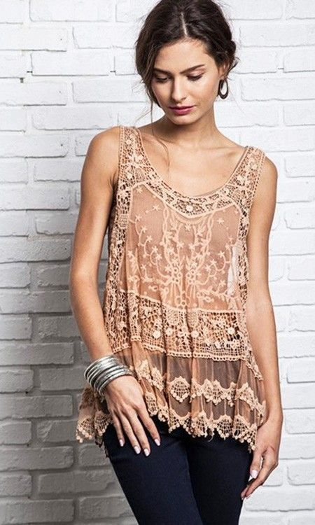 Image of GYPSY Bohemian Sheer Lace and crochet racerback tunic