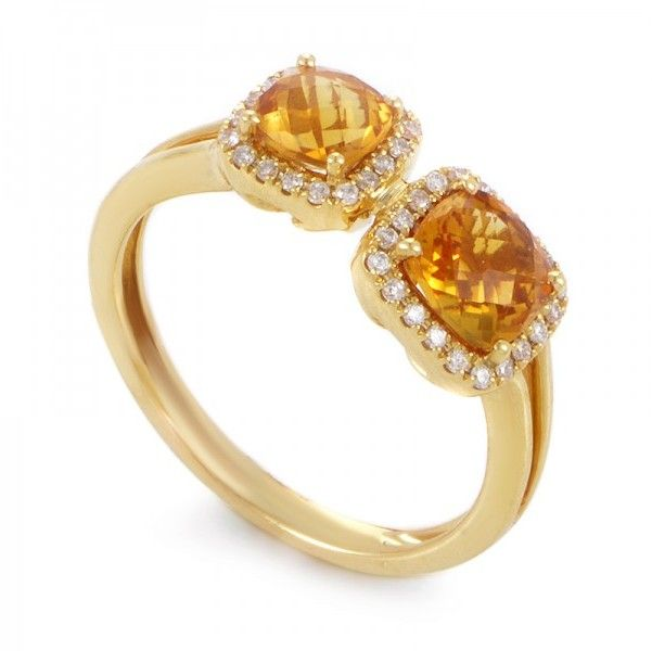 18K Yellow Gold Citrine & Diamond Ring