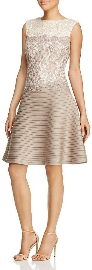 Tadashi Shoji Dress - Sleeveless Color Block Lace & Pintuck Fit and Flare