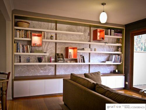 Custom Digital Print Wallpaper - Bookcase Backing