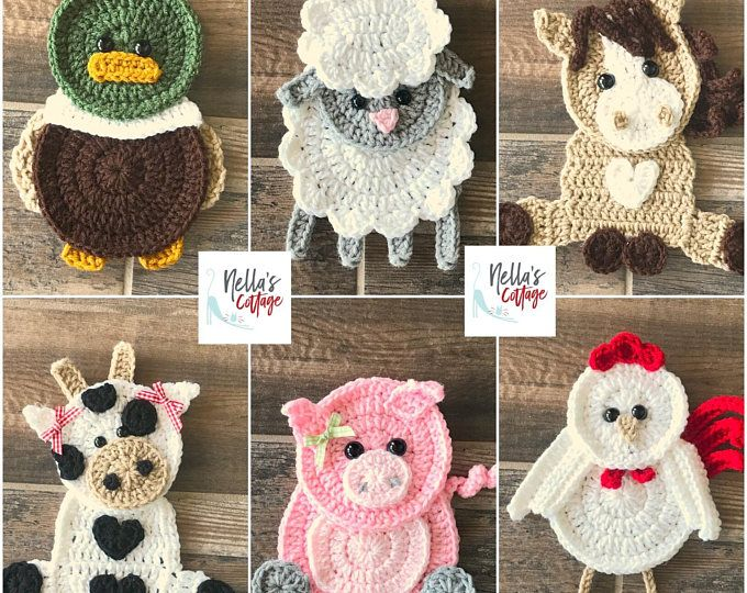 Pattern farm animal applique crochet patterns pdf barn tractor