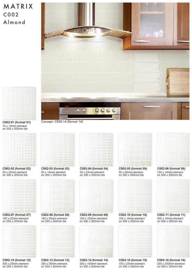 Matrix glass tile - Almond colour in 16 formats